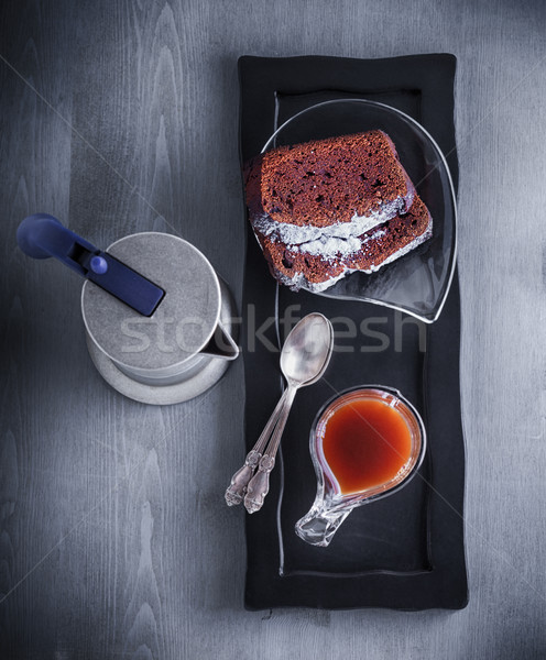 Chocolate cake and coffee. Stock photo © user_11224430