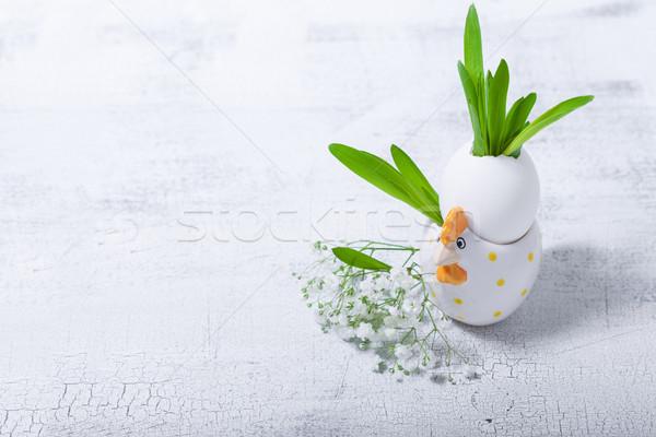 Huevo flores blanco Pascua símbolos Foto stock © user_11224430