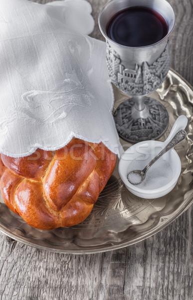 вино поверхность продовольствие хлеб праздник Сток-фото © user_11224430
