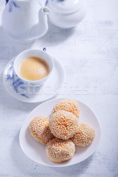 Cookies кофе служивший таблице десерта Сток-фото © user_11224430