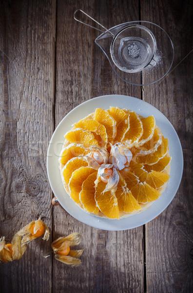 Kwarktaart ingericht sinaasappelen houten oppervlak cake Stockfoto © user_11224430