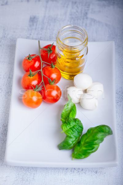 салат Капрезе Ингредиенты служивший белый пластина красный Сток-фото © user_11224430