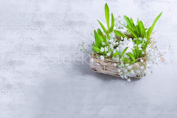 Húsvét szimbólumok virágok tojás fehér Stock fotó © user_11224430