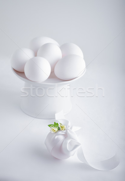 Eggs with flowers on a white background. Easter Symbols. Stock photo © user_11224430