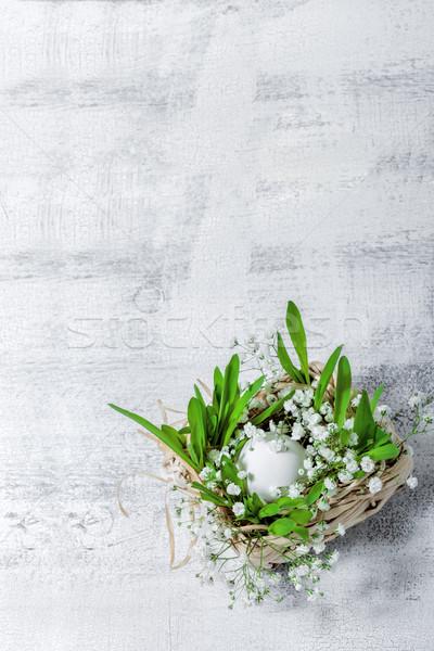 Tojás virágok fehér húsvét szimbólumok tojások Stock fotó © user_11224430