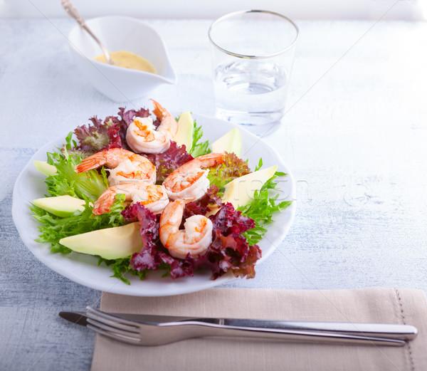 авокадо креветок Салат горчица соус таблице Сток-фото © user_11224430