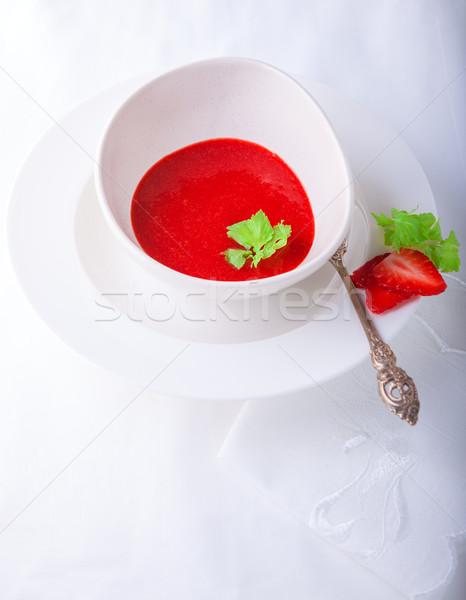 Fresco morango sopa de branco vermelho Foto stock © user_11224430