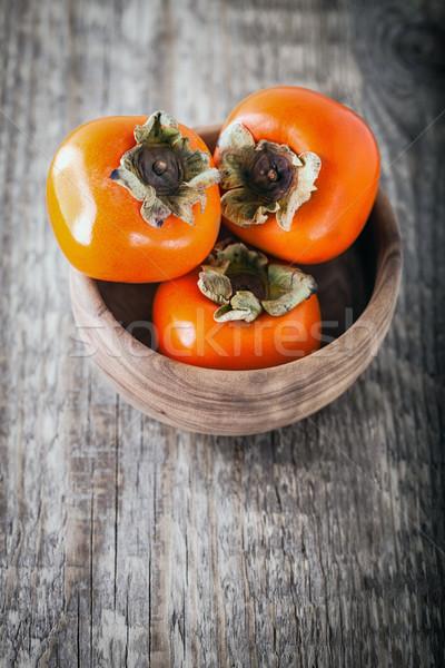 Friss édes fa asztal fa gyümölcs asztal Stock fotó © user_11224430