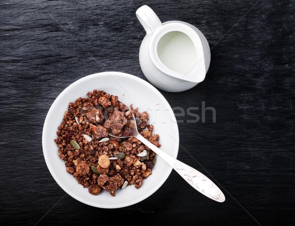 Saudável chocolate aveia barras granola leite Foto stock © user_11224430