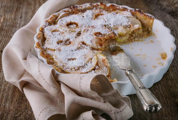 Torta di mele cannella tavolo in legno frutta dessert torta Foto d'archivio © user_11224430