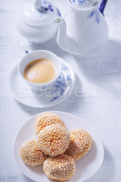 Almonds cookies with coffee Stock photo © user_11224430
