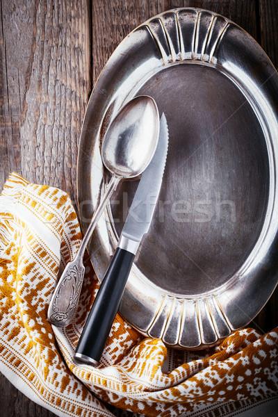 Lege dienblad voedsel houten oppervlak keuken Stockfoto © user_11224430