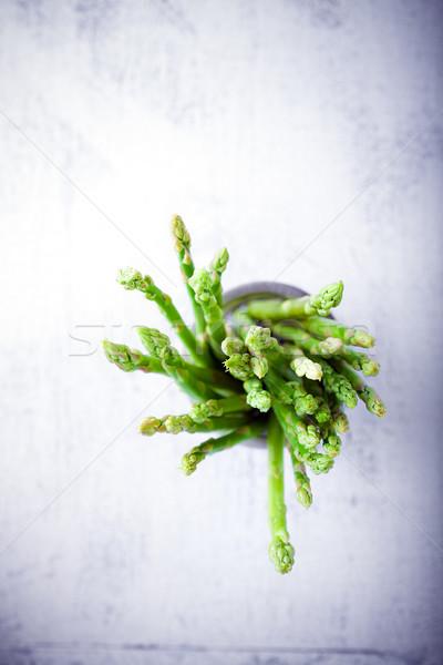 Kuşkonmaz beyaz taze yeşil arka plan salata Stok fotoğraf © user_11224430