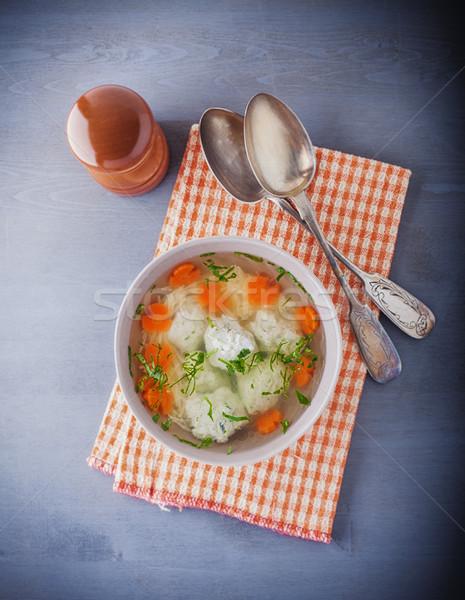Brodo di pollo polpette verdura tovagliolo piatto carne Foto d'archivio © user_11224430