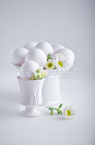 Eggs with flowers on a white background. Easter Symbols Stock photo © user_11224430