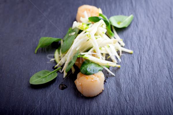 Salada maçã espinafre pedra prato comida Foto stock © user_11224430