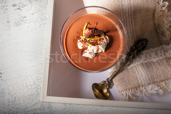 Verre mousse au chocolat dessert servi bois surface Photo stock © user_11224430