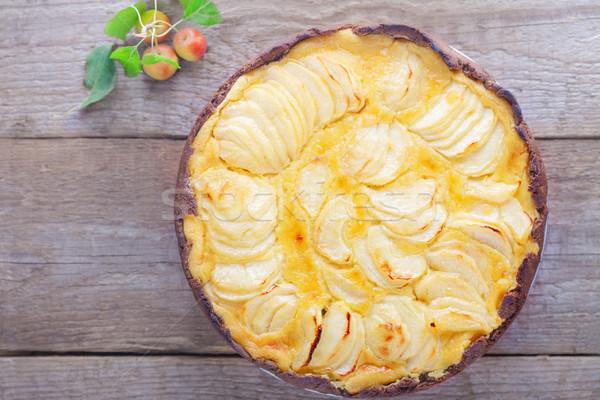 アップルパイ カスタード 木製のテーブル デザート パイ ストックフォト © user_11224430