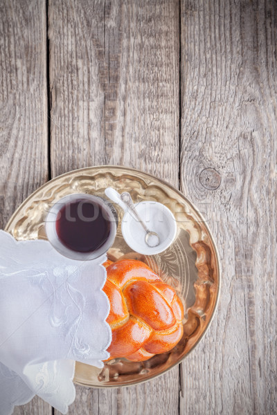 Stockfoto: Wijn · houten · oppervlak · voedsel · brood · vakantie