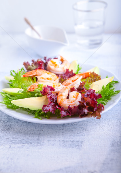 Avocado shrimp salad with mustard sauce Stock photo © user_11224430