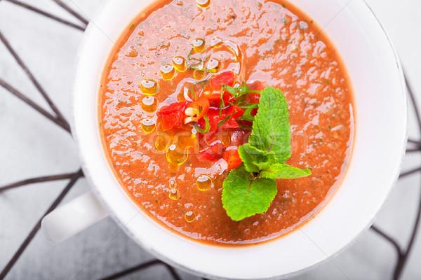 Puchar świeże zupa pomidorowa biały tablicy lata Zdjęcia stock © user_11224430