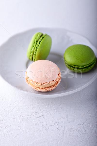 Plaka renkli beyaz yeşil süt kahvaltı Stok fotoğraf © user_11224430