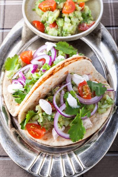 Pollo tacos verdura alimentare piatto mais Foto d'archivio © user_11224430