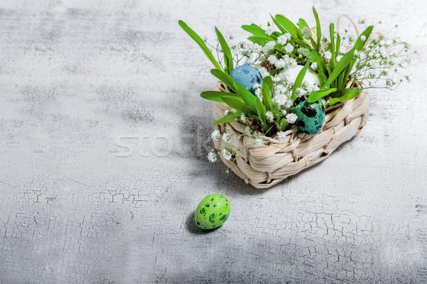 Foto d'archivio: Uova · fiori · bianco · Pasqua · simboli