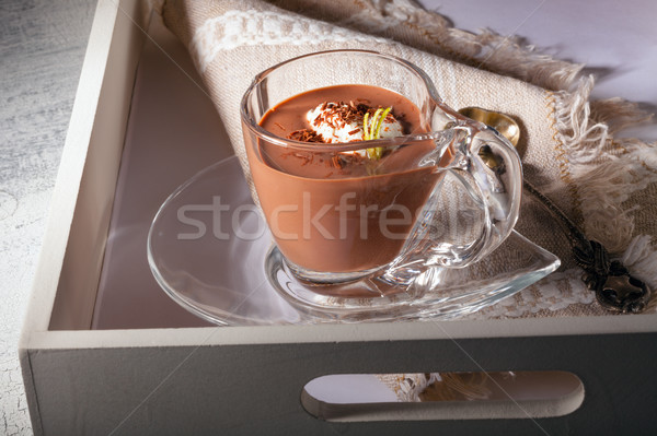 Chocolate Mousse Dessert with cream Stock photo © user_11224430