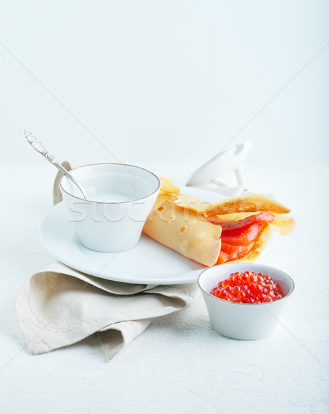 Crepe with smoked salmon. Stock photo © user_11224430