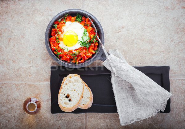 Tradicional oriente médio prato panela pão café da manhã Foto stock © user_11224430