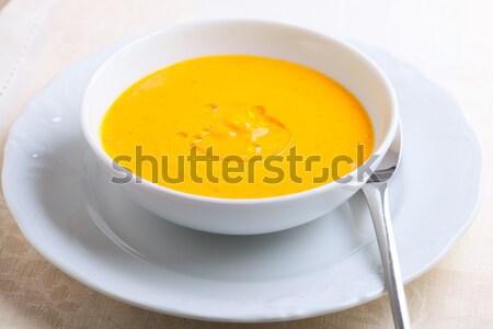 Сток-фото: тыква · суп · кремом · служивший · таблице · обеда