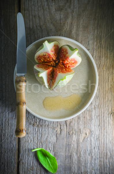 Friss lédús füge kés tányér fa Stock fotó © user_11224430