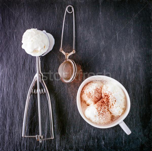 ваниль мороженым черпать каменные пластина продовольствие Сток-фото © user_11224430