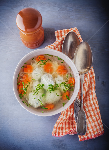 Chicken soup with meatballs and vegetables. Stock photo © user_11224430