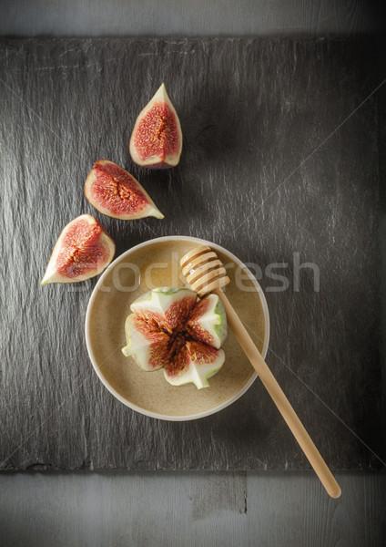 свежие инжир пластина меда древесины фотографии Сток-фото © user_11224430