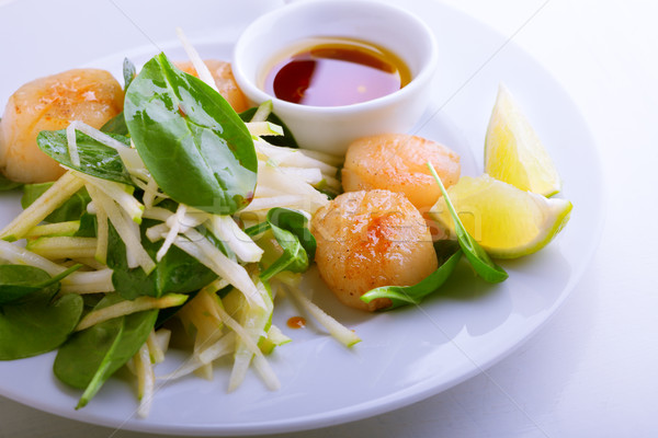 Stock photo: Scallop Salad with greenery