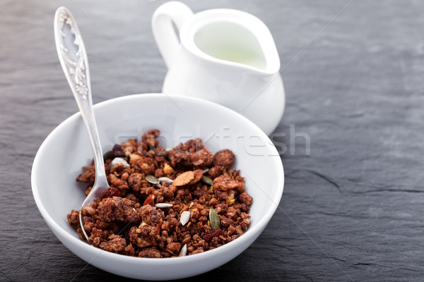 Granola - Healthy Chocolate Oat Bars in a white plate Stock photo © user_11224430