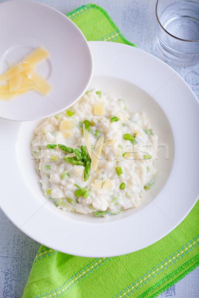 Risotto asperges kaas geserveerd tabel groene Stockfoto © user_11224430