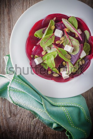 Salad with beetroot, goat cheese and chard  Stock photo © user_11224430