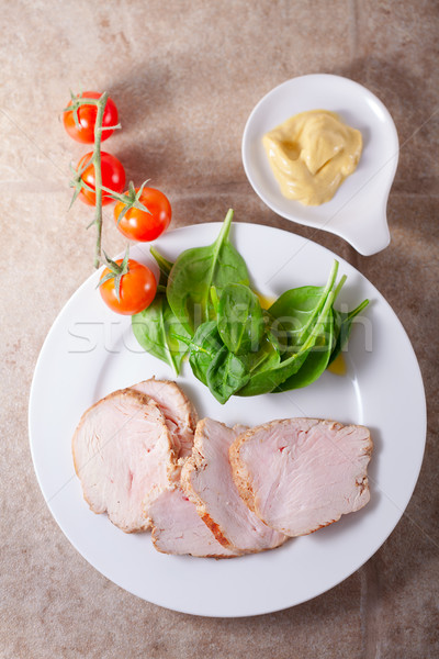 Meme yeşil salata dilimleri fileto gıda Stok fotoğraf © user_11224430