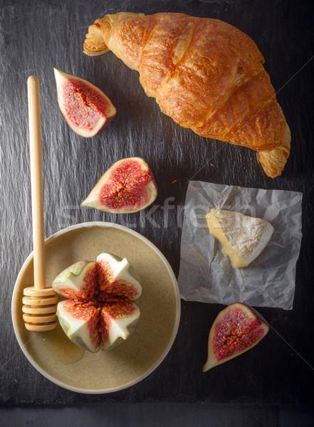круассан мягкой сыра каменные пластина продовольствие Сток-фото © user_11224430