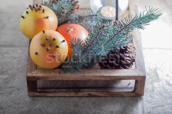 Karácsony narancsok fából készült doboz szimbólumok fa Stock fotó © user_11224430