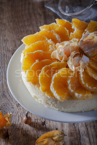 Cheesecake decorato arance torta arancione piatto Foto d'archivio © user_11224430