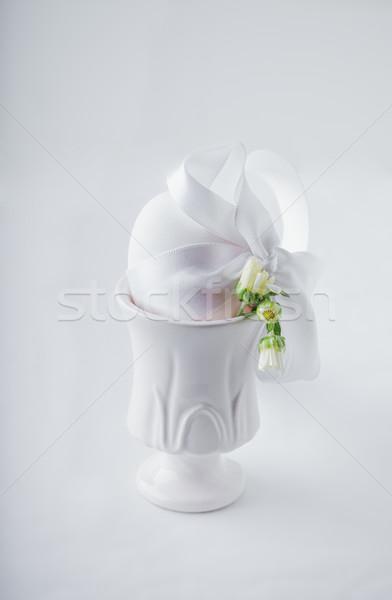 Pasqua tempo bianco easter egg regalo fiore Foto d'archivio © user_11224430