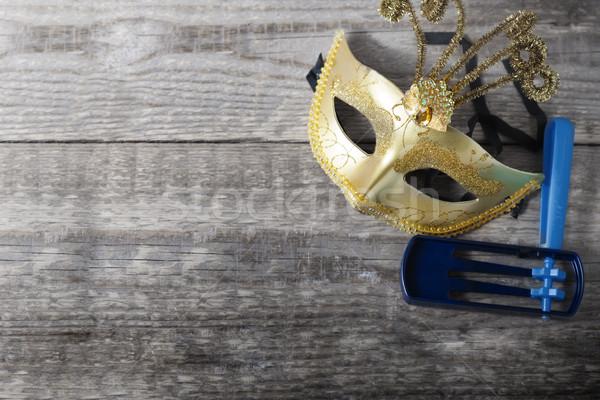 Gragger - noisemaker and carnival mask for Purim celebration Stock photo © user_11224430