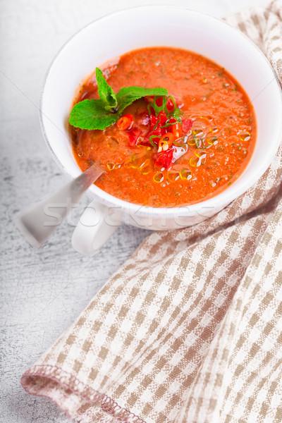 Tigela fresco sopa de tomate verão vermelho tomates Foto stock © user_11224430