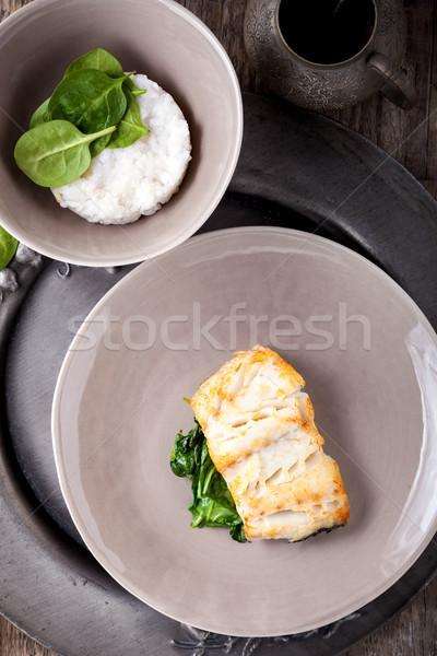 Spinazie geserveerd houten oppervlak diner Stockfoto © user_11224430