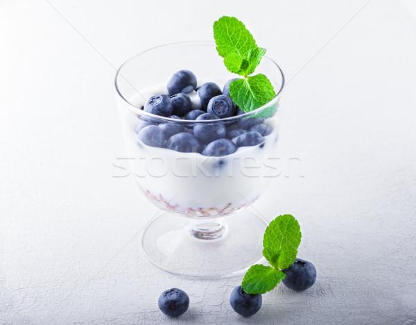 Yogurt with fresh blueberry and muesli Stock photo © user_11224430