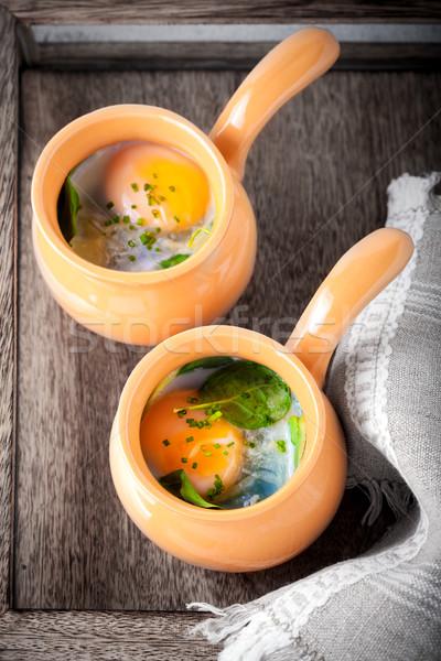 Uova spinaci parmigiano colazione formaggio forcella Foto d'archivio © user_11224430